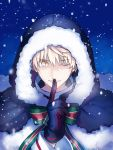 1boy artoria_pendragon_(all) black_gloves fate/grand_order fate/prototype fate_(series) finger_to_mouth fur_trim genderswap genderswap_(ftm) gloves hood one_eye_closed ribbon saber_(fate/prototype) saber_alter santa_costume seseragi_azuma shushing solo