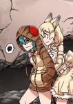 2girls animal_ears bare_shoulders blonde_hair blush bow bowtie cat_ears cat_tail elbow_gloves eyebrows_visible_through_hair gloves hands_in_pockets highres kemono_friends multicolored_hair multiple_girls sand_cat_(kemono_friends) shirt short_hair skirt sleeveless snake_tail striped_hoodie striped_tail tail takoongyi tsuchinoko_(kemono_friends) yellow_eyes