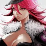 1girl big_hair breasts cleavage earrings final_fight hat hiro1984 jacket jewelry large_breasts pink_eyes pink_hair poison_(final_fight) skull_earrings solo street_fighter upper_body