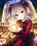 1girl artist_request bow candle drill_hair eyelashes fountain frills gothic_lolita grey_hair hair_between_eyes hair_bow holding idolmaster idolmaster_cinderella_girls kanzaki_ranko lolita_fashion long_hair looking_at_viewer night official_art open_mouth outdoors red_eyes smile solo tree twin_drills twintails