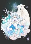 1girl animal barefoot bear cape full_body long_hair looking_at_viewer official_art open_mouth smile snow xenoblade xenoblade_2