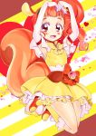 1girl animal_ears arisugawa_himari arms_up blush bow brown_hair cure_custard dress elbow_gloves full_body gloves heart jumping kirakira_precure_a_la_mode kneehighs looking_at_viewer magical_girl naruse_yasuhiro orange_bow orange_footwear ponytail precure red_eyes shoes short_hair solo squirrel_ears squirrel_tail striped striped_background tail white_gloves yellow_bow yellow_dress yellow_legwear