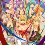 6+girls :d ahoge aqua_hair arm_garter arm_up arm_warmers artoria_pendragon_(all) black_gloves black_legwear blonde_hair blue_eyes blush braid breasts cleavage closed_mouth covered_navel detexted elbow_gloves fate/apocrypha fate/grand_order fate_(series) gloves green_eyes grey_legwear hair_between_eyes hair_bun hair_over_one_eye half_updo halterneck high_heels horns japanese_clothes jeanne_d'arc_(alter)_(fate) jeanne_d'arc_(fate)_(all) kiyohime_(fate/grand_order) kneeling lace lace-trimmed_thighhighs large_breasts leaning_forward legs_crossed leotard light_brown_hair looking_at_viewer mash_kyrielight medium_breasts mordred_(fate)_(all) multiple_girls nanaya_(daaijianglin) nero_claudius_(fate)_(all) okita_souji_(fate) one_side_up open_mouth own_hands_together pantyhose pantyhose_pull parted_lips ponytail profile purple_hair red_gloves ribbon sakura_saber sideboob single_elbow_glove sitting smile thigh-highs thighband_pantyhose underbust white_legwear wrist_ribbon wristband yellow_eyes