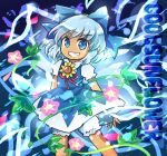 1girl bloomers blue_background blue_bow blue_dress blue_eyes blue_hair blush_stickers bow cowboy_shot dress flower grin hidden_star_in_four_seasons looking_at_viewer morning_glory pote_(ptkan) puffy_short_sleeves puffy_sleeves short_hair short_sleeves smile solo sunflower tan tanned_cirno touhou underwear