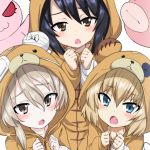 3girls alternate_costume animal_costume bandage bangs bear_costume black_hair blonde_hair blue_eyes blush boko_(girls_und_panzer) boko_(girls_und_panzer)_(cosplay) brown_eyes brown_hair commentary_request cosplay eyebrows_visible_through_hair girls_und_panzer katyusha long_hair looking_at_viewer miyao_ryuu multiple_girls open_mouth reizei_mako shimada_arisu short_hair