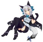 1girl :o animal_ears bag bangs belt_buckle black_belt black_cape black_footwear black_gloves black_legwear black_shorts blue_bow blue_eyes blue_neckwear blue_ribbon blush boots bow bowtie buckle cape commentary dress_shirt elbow_gloves eyebrows_visible_through_hair full_body gloves hair_between_eyes hair_bow hand_on_own_knee hand_up head_tilt high_heel_boots high_heels highres looking_at_viewer mony original parted_lips ribbon satchel shirt short_shorts shorts silver_hair simple_background solo tail tail_ribbon thigh-highs white_background white_shirt wolf_ears wolf_girl wolf_tail