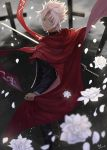 1boy 2017 black_jacket black_pants cape dated earrings fate/apocrypha fate_(series) from_behind heri_(sniper579) highres holding holding_sword holding_weapon jacket jewelry kotomine_shirou looking_at_viewer pants petals red_cape signature silver_hair smile solo spiky_hair standing sword weapon white_flower yellow_eyes