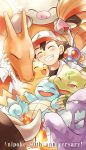 1boy baseball_cap black_hair black_shirt blush bulbasaur butterfree charizard closed_eyes commentary_request gloves green_gloves hat kingler muk partly_fingerless_gloves pidgeot pikachu pokemon pokemon_(anime) primeape satoshi_(pokemon) shirt short_hair squirtle tauros usao_(313131)