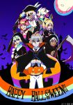 2girls 5boys absurdres bat black_cape blonde_hair brown_hair cape commentary fate/apocrypha fate_(series) graveyard green_eyes halloween halloween_costume hand_on_headwear hat highres holding holding_scythe jack-o'-lantern jeanne_d'arc_(fate) jeanne_d'arc_(fate)_(all) karna_(fate) kotomine_shirou moon multiple_boys multiple_girls night night_sky nun open_clothes pants pink_hair red_eyes rider_of_black saber_of_black saber_of_red sakuragi_anju scythe sieg_(fate/apocrypha) silver_hair sky toothbrush violet_eyes white_pants