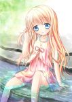 1girl :d arm_support bangs bare_arms bare_shoulders blonde_hair blue_eyes blush commentary_request day dress eyebrows_visible_through_hair frills hair_between_eyes hair_grab head_tilt long_hair looking_at_viewer open_mouth original outdoors pink_dress pink_ribbon ribbon shallow_water shihou_haru sitting sleeveless sleeveless_dress smile solo very_long_hair