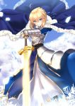 1girl ahoge artoria_pendragon_(all) blonde_hair blue_dress braid breastplate closed_mouth day dress excalibur fate/grand_order fate/stay_night fate_(series) french_braid fur_trim gauntlets green_eyes hair_between_eyes highres looking_at_viewer mirea outdoors petals planted_sword planted_weapon revision saber smile solo sword tsurime weapon