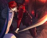 1boy armor fire formal holding holding_weapon japanese_armor kneeling looking_at_viewer male_focus ookanehira_(touken_ranbu) redhead solo spiky_hair suit sword touken_ranbu weapon yellow_eyes