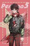 1boy black_hair glasses jacket kurusu_akira looking_at_viewer male_focus persona persona_5 scarf shor solo