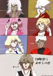 2girls 5boys :d absurdres ahoge bangs black_ribbon blonde_hair blue_eyes blue_neckwear braid breasts brown_hair commentary dark_skin earrings eyebrows_visible_through_hair eyepatch eyewear_on_head fang fate/apocrypha fate_(series) glasses green_eyes grey_eyes hair_ornament hair_ribbon hand_on_eyewear hand_on_own_chin hand_on_own_face highres jeanne_d'arc_(fate) jeanne_d'arc_(fate)_(all) jewelry karna_(fate) kotomine_shirou large_breasts long_braid long_hair long_sleeves looking_at_viewer multicolored multicolored_background multicolored_hair multiple_boys multiple_girls necktie one_eye_closed open_mouth pink_eyes pink_hair red_eyes ribbon rider_of_black saber_of_black saber_of_red sakuragi_anju scar shirt short_hair sieg_(fate/apocrypha) silver_hair single_braid smile tooth translation_request trap two-tone_hair v violet_eyes waistcoat white_shirt