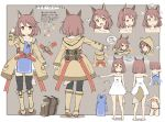 1girl :d :o animal_ears arm_up bangs bare_shoulders barefoot beige_coat beige_footwear belt_buckle black_legwear blush boots bra brown_background brown_bra brown_hair brown_panties buckle closed_mouth coat collarbone commentary_request directional_arrow dress eyebrows_visible_through_hair fang fantasy fox_ears fox_girl fox_tail highres hood hood_down hood_up hooded_coat knee_boots long_sleeves magic magic_circle multiple_views nose_blush open_clothes open_coat open_mouth original outstretched_arm panties parted_lips red_belt sekira_ame short_dress smile strapless strapless_dress sweat tail thigh-highs translation_request underwear underwear_only variations white_dress yellow_eyes