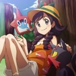 1girl black_hair braid clouds hat litten long_hair lowres mizuki_(pokemon_ultra_sm) nanashi_(soregashi) orange_shirt pokedex pokemon pokemon_(creature) pokemon_(game) pokemon_ultra_sm rotom rotom_dex shirt shorts sitting sky smile sun_hat tank_top twin_braids white_shorts