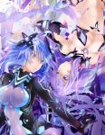 :o blue_eyes blue_hair bodysuit braid breasts cleavage dual_persona elbow_gloves gloves grin headgear highres large_breasts long_hair looking_at_another navel nepnep_connect:_chaos_chanpuru neptune_(series) power_symbol purple_hair purple_heart purple_heart_(chaos_form) shin_jigen_game_neptune_vii shishin_(shishintei) smile symbol-shaped_pupils twin_braids twintails very_long_hair