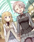 2girls ange_(princess_principal) blonde_hair blue_eyes blush bow bowtie braid breasts closed_eyes dutch_angle grey_hair hand_holding highres long_hair multiple_girls piripun princess_(princess_principal) princess_principal short_hair sketch smile