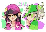 +_+ 2girls alternate_costume alternate_hairstyle aori_(splatoon) baseball_cap beanie black_hair breasts cleavage cousins domino_mask earrings fangs grey_hair hair_down hat hood hoodie hotaru_(splatoon) jewelry looking_at_viewer mask mole mole_under_eye multiple_girls open_mouth pointy_ears ponytail shirt simple_background splatoon splatoon_2 symbol-shaped_pupils tentacle_hair text white_background white_shirt wong_ying_chee yellow_eyes