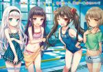 4girls ;d aqua_dress bikini black_hairband blue_swimsuit breasts brown_eyes brown_hair character_name collarbone copyright_request covered_navel crossed_arms detached_sleeves dress eyebrows_visible_through_hair flat_chest floating_hair grey_shorts hair_ornament hair_ribbon hairband hands_on_hips highres indoors leaning_forward long_hair looking_at_viewer midriff mokyu multicolored_hair multiple_girls navel novel_illustration official_art one-piece_swimsuit one_eye_closed open_mouth polka_dot polka_dot_dress pool purple_hair red_eyes red_ribbon ribbon sarong school_swimsuit see-through shirt short_dress short_hair short_shorts shorts silver_hair small_breasts smile stomach striped striped_bikini swimsuit translated twintails two-tone_hair very_long_hair violet_eyes