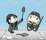 2girls animated animated_gif black_hair blonde_hair blush chito_(shoujo_shuumatsu_ryokou) coat crying gun helmet hidamari_sketch long_hair lowres military military_uniform multiple_girls parody rifle shoujo_shuumatsu_ryokou shovel smile uniform weapon worktool yuuri_(shoujo_shuumatsu_ryokou)