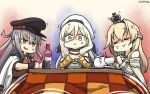 3girls alcohol anger_vein baguette beret black_gloves black_tea blonde_hair braid bread commentary_request crown cup dated dress food french_braid gangut_(kantai_collection) gloves grey_hair hair_between_eyes hamu_koutarou hat highres jacket kantai_collection kotatsu long_hair long_sleeves mini_crown multicolored multicolored_clothes multicolored_gloves multiple_girls off-shoulder_dress off_shoulder orange_eyes peaked_cap red_shirt remodel_(kantai_collection) richelieu_(kantai_collection) shaded_face shirt strapless strapless_dress table tea teacup vodka warspite_(kantai_collection) white_dress white_jacket yellow_eyes