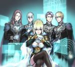1girl 4boys artoria_pendragon_(all) bedivere braid cape epaulettes fate/extra fate/grand_order fate/stay_night fate_(series) french_braid galactic_empire_(gin'eiden) gawain_(fate/extra) ginga_eiyuu_densetsu gloves golden_wings_(fate/grand_order) hand_on_own_chest holographic_interface knights_of_the_round_table_(fate) lancelot_(fate/grand_order) legs_crossed looking_at_viewer multiple_boys nodo_goshisawayaka saber sitting thigh-highs tristan_(fate/grand_order) white_gloves