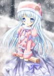 1girl :o animal_hat bangs blue_bow blue_eyes blue_hair blue_ribbon blush bow breath cat_hat cold commentary_request dress eyebrows_visible_through_hair frilled_jacket frills fur-trimmed_hat fur-trimmed_jacket fur_trim hat holding jacket juliet_sleeves little_match_girl long_hair long_sleeves matchstick original outdoors oversized_object parted_lips pink_hat pink_jacket pom_poms puffy_sleeves purple_bow purple_dress ribbon shihou_haru snow snowflakes snowing solo v_arms very_long_hair