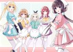 1boy 4girls :d amano_miu aqua_eyes aqua_skirt black_eyes black_hair blend_s blonde_hair blue_skirt blush brown_hair food gloves green_eyes hairband hinata_kaho holding holding_plate hoshikawa_mafuyu kanzaki_hideri light_brown_hair long_hair looking_at_viewer menu multiple_girls open_mouth pink_skirt plate purple_skirt sakuranomiya_maika shiratoriko short_hair skirt smile standing stile_uniform tented_fingers thigh-highs trap twintails violet_eyes waitress white_gloves white_legwear yellow_skirt
