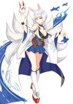 1girl absurdres aircraft airplane animal_ears artist_name azur_lane bangs blue_eyes blue_skirt breasts cleavage fox_ears fox_mask fox_tail full_body highres japanese_clothes kaga_(azur_lane) kneehighs large_breasts looking_at_viewer mask multiple_tails platform_footwear short_hair skirt smile solo standing tail white_hair white_legwear wristband zedxxx