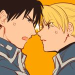 1boy 1girl annoyed black_eyes black_hair blonde_hair brown_eyes earrings eyebrows_visible_through_hair fighting frown fullmetal_alchemist jewelry makaron611 military military_uniform noses_touching open_mouth orange_background riza_hawkeye roy_mustang simple_background uniform