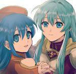2girls armor blue_hair eirika fire_emblem fire_emblem:_fuuin_no_tsurugi fire_emblem:_seima_no_kouseki hat kometubu0712 lilina long_hair looking_at_viewer multiple_girls smile