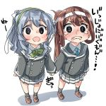 2girls @_@ ahoge asagumo_(kantai_collection) bangs black_legwear blue_eyes blush bow bowtie brown_footwear brown_hair commentary_request ebifurya eyebrows_visible_through_hair full_body green_neckwear hairband hand_holding highres kantai_collection long_hair long_sleeves looking_at_viewer mary_janes multiple_girls open_mouth pleated_skirt ponytail school_uniform serafuku shoes sidelocks simple_background skirt snot socks standing tears white_background yamagumo_(kantai_collection)