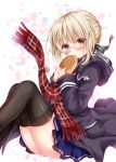 1girl ahoge artoria_pendragon_(all) bangs black-framed_eyewear black_ribbon blonde_hair blue_skirt blush braid brown_eyes coat duffel_coat eating eyebrows_visible_through_hair fate/grand_order fate_(series) food french_braid hair_ribbon holding holding_food legs_together looking_at_viewer mysterious_heroine_x_(alter) nogi_takayoshi open_clothes open_coat pancake plaid plaid_scarf pleated_skirt red_scarf ribbon scarf sidelocks skirt solo thigh-highs thighs under-rim_eyewear yellow_eyes