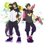 2boys alternate_costume bespectacled black_gloves black_hair blue_eyes carrying_over_shoulder dual_wielding fate/grand_order fate_(series) fingerless_gloves fujimaru_ritsuka_(male) full_body glasses gloves green_eyes hand_on_hip highres ink_tank_(splatoon) long_hair male_focus mini_splatling_(splatoon) multiple_boys ororooops ponytail shoes simple_background sneakers splat_dualies_(splatoon) splatoon splatoon_2 very_long_hair white_background yan_qing_(fate/grand_order)