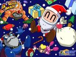 1girl 2000 3boys bagura bomberman bomberman_(character) candy candy_cane christmas christmas_tree closed_eyes copyright_name gift golem_bomber hudson_soft konami no_humans no_mouth official_art present pretty_bomber robot santa_costume santa_hat snow white_bomberman