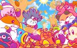 1girl 5boys autumn autumn_leaves beanie bird blush_stickers bobblehat bow bowtie cat chuchu_(kirby) commentary_request con_(kirby) coo_(kirby) eating fish food fox gooey hamster hat hot_head_(kirby) kine_(kirby) kirby kirby_(series) leaf multiple_boys nago no_humans octopus official_art owl pitch_(kirby) pon_(kirby) rick_(kirby) roasting sun sweet_potato tanuki tree waddle_dee