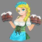 1girl alcohol apron bare_arms bare_shoulders beer beer_mug blonde_hair blouse blue_apron blue_eyes blue_rose bodice braid breasts cleavage closed_mouth collarbone cowboy_shot cropped_torso cross-laced_clothes detached_sleeves dirndl dress eyelashes flower foam german_clothes green_dress grey_background hair_flower hair_ornament hair_over_shoulder head_wreath himeshaga large_breasts looking_at_viewer original ribbon_trim rose simple_background single_braid smile solo underbust waist_apron white_blouse