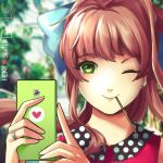 1girl ;) blue_bow blurry blurry_background bow brown_hair cellphone closed_mouth commentary doki_doki_literature_club earrings eyebrows_visible_through_hair food food_in_mouth green_eyes hair_bow hannah_santos heart heart_print highres holding holding_phone jewelry long_hair looking_at_viewer monika_(doki_doki_literature_club) one_eye_closed phone pocky ponytail portrait sidelocks smartphone smile solo star star-shaped_pupils symbol-shaped_pupils