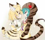 2girls animal_ears aqua_hair blonde_hair blush bow bowtie brown_eyes cat_ears cat_tail commentary_request elbow_gloves eye_contact gloves hands_in_pockets hekicho hood hoodie kemono_friends layered_skirt looking_at_another multiple_girls open_mouth ribbon sand_cat_(kemono_friends) snake_tail striped_hoodie tail triangle_mouth tsuchinoko_(kemono_friends) tying yellow_eyes