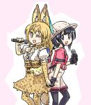 2girls animal_ears back-to-back backpack bag black_eyes black_gloves black_hair bow bowtie bucket_hat gloves hair_between_eyes hat hat_feather high-waist_skirt kaban_(kemono_friends) kemono_friends microphone multiple_girls one_eye_closed red_shirt seki_(red_shine) serval_(kemono_friends) serval_ears serval_print serval_tail shirt short_hair shorts skirt sleeveless sleeveless_shirt striped_tail tail uchida_aya wavy_hair