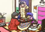 4girls bangs black_hair blunt_bangs blush boiling bottle calendar_(object) cameo card character_doll checkered chest_of_drawers closed_eyes controller cup double_bun drink drinking drying drying_hair floral_print food food_in_mouth fruit grey_sweater hairband hand_on_own_head handheld_game_console hanten_(clothes) heater hood hood_down hoodie indoors kettle kotatsu kunou_kodachi kuonji_ukyou long_hair long_sleeves looking_at_another lying magazine mandarin_orange manga_(object) mouth_hold multiple_girls nintendo_3ds on_stomach orange pajamas phone pillow playing_games purple_hair ranma_1/2 rotary_phone saotome_genma saotome_ranma shampoo_(ranma_1/2) short_hair side_ponytail sidelocks sitting sliding_doors socket_(tool) standing steam stove stuffed_animal stuffed_panda stuffed_toy sweater table television tendou_akane towel towel_on_head turtleneck turtleneck_sweater under_table wall wantan-orz wet yunomi