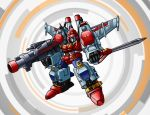 1boy 80s armor artist_request autobot blue_eyes cannon clenched_hand fighting_stance full_body gun holding huge_weapon insignia looking_at_viewer mechanical_wings no_humans oldschool personification solo star_saber_(transformers) sword transformers transformers_victory weapon wings