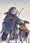 1girl daito dog glasses gloves grey_hair gun headphones holding holding_gun holding_weapon knee_pads kneeling military original pantyhose petting rifle scarf school_uniform signature sniper_rifle snow snowing suppressor tripod weapon weapon_request