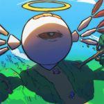 blue_sky grass halo hat kirby kirby:_star_allies kirby_(series) kirby_64 kuzudon no_humans pom_pom_(clothes) poppy_bros_jr shadow size_difference sky smile tree wings zero_two_(kirby)