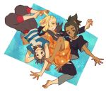 3boys aoya_(ayoyame18) barefoot black_hair blonde_hair dark_skin dark_skinned_male ear_piercing gladio_(pokemon) green_eyes green_hair hair_over_one_eye hau_(pokemon) hood hoodie multiple_boys open_mouth piercing pokemon pokemon_(game) pokemon_sm shirt short_hair short_ponytail shorts striped striped_shirt t-shirt torn_clothes you_(pokemon_sm)