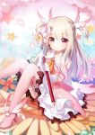 +_+ 1girl absurdres artist_request bare_shoulders blush boots commentary_request elbow_gloves eyebrows_visible_through_hair fate/kaleid_liner_prisma_illya fate_(series) feathers flower gloves hair_feathers highres holding holding_wand illyasviel_von_einzbern kaleidostick knees_together_feet_apart knees_up looking_at_viewer magical_girl magical_ruby pink_footwear pink_legwear prisma_illya red_eyes sitting smile star thigh-highs thigh_boots two_side_up wand white_gloves white_hair