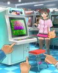1girl :d arcade_cabinet bag bangs black_hair black_legwear blunt_bangs board_game eyebrows_visible_through_hair green_eyes handbag himeshaga hood hood_down hoodie indoors long_sleeves looking_at_viewer mahjong open_mouth original pink_footwear pink_hoodie pink_skirt pleated_skirt pointing shoes short_hair skirt smile solo_focus standing stool strip_game strip_mahjong thigh-highs zettai_ryouiki
