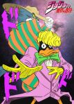 2boys angry animal black_eyes blonde_hair bowtie cat crossover daffy_duck duck gloves green_eyes hat jojo_no_kimyou_na_bouken jojo_pose looney_tunes no_humans parody pose space tom tom_and_jerry warner_bros zoot_suit