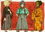 3boys aoya_(ayoyame18) bangs barefoot black_hair blonde_hair closed_eyes dark_skin dark_skinned_male gladio_(pokemon) green_hair hair_over_one_eye hau_(pokemon) highres japanese_clothes male_focus multiple_boys pokemon pokemon_(game) pokemon_sm short_hair short_ponytail smile swept_bangs you_(pokemon_sm)